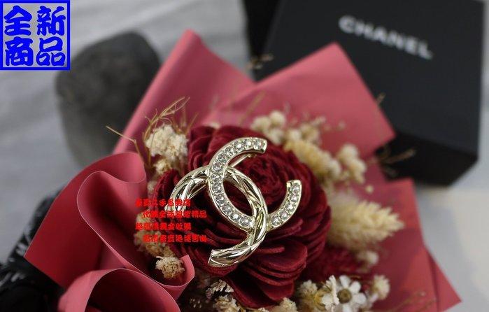 優買二手精品名牌店 CHANEL 金色 金屬 菱格紋 雙c logo 水鑽 雙面 立體 別針 胸針 墬子 項鍊 全新商品