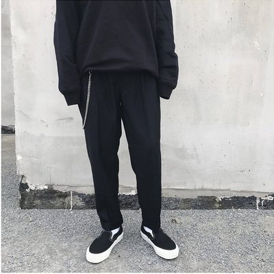∵ PRAY FOR FASHION ∴ 美式HIGH STREET時尚潮流超質感做工雙褶寬鬆反折褲腳休閒西裝九分褲