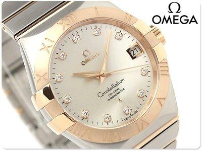 OMEGA 歐米茄 手錶 CONSTELLATION 星座 38mm 機械錶 18k紅金 鑽石 藍寶石 瑞士 123.20.38.21.52.001