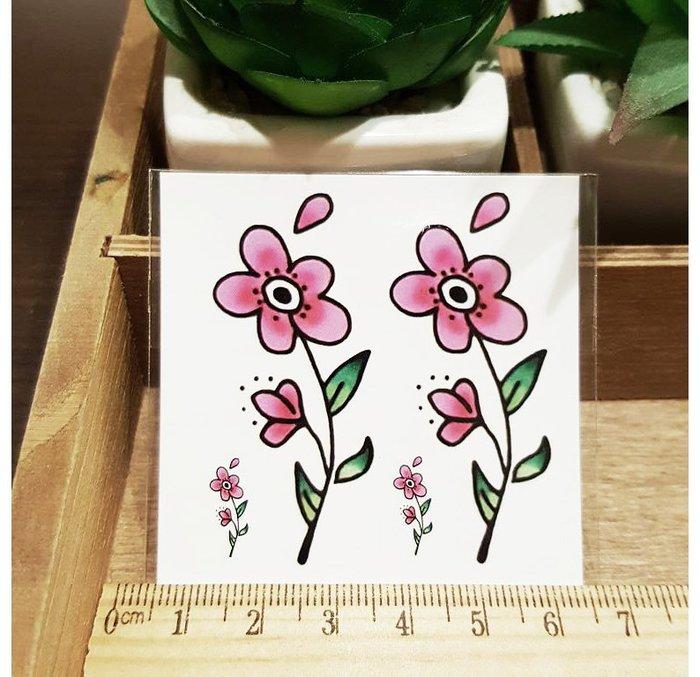 【萌古屋】L系列粉紅小花 - 男女防水紋身貼紙刺青貼紙K31