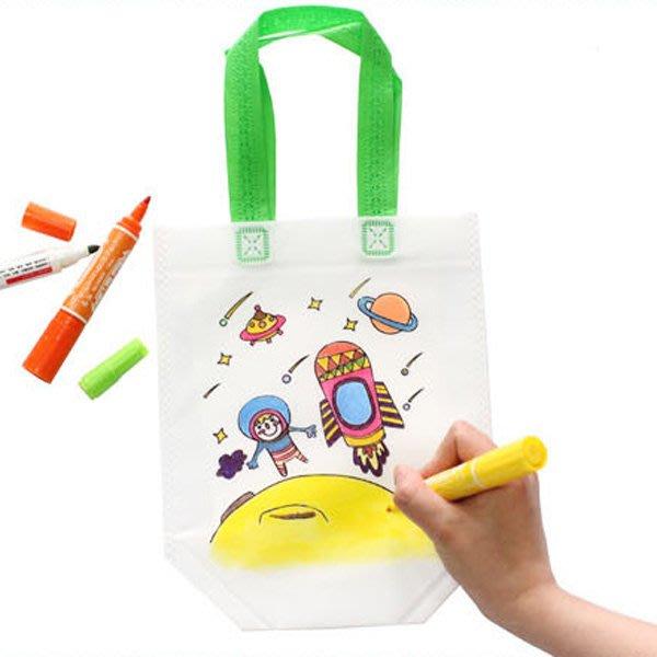兒童DIY手作繪畫環保手提袋 塗鴉彩繪 幼兒美術 【JC3466】《Jami Honey》