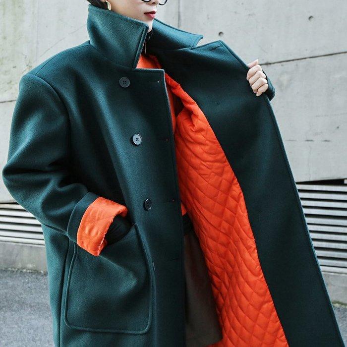 RVP|版型超正|廓形撞色鋪棉保暖長大衣-11217