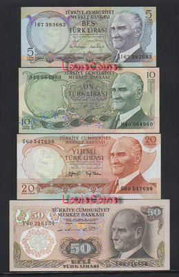 【Louis Coins】B1297-TURKEY-1971-1982土耳其紙幣,7張一套