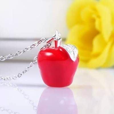 925純銀項鍊 吊墜-紅蘋果聖誕平安夜小禮物女飾品 銀飾 2色73v38[獨家進口][巴黎精品]