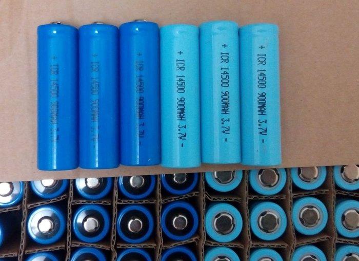 14500 900mAH Q5強光可用90分 平頭 高容量鋰電池 實際容量 非虛標 另有尖頭可選購