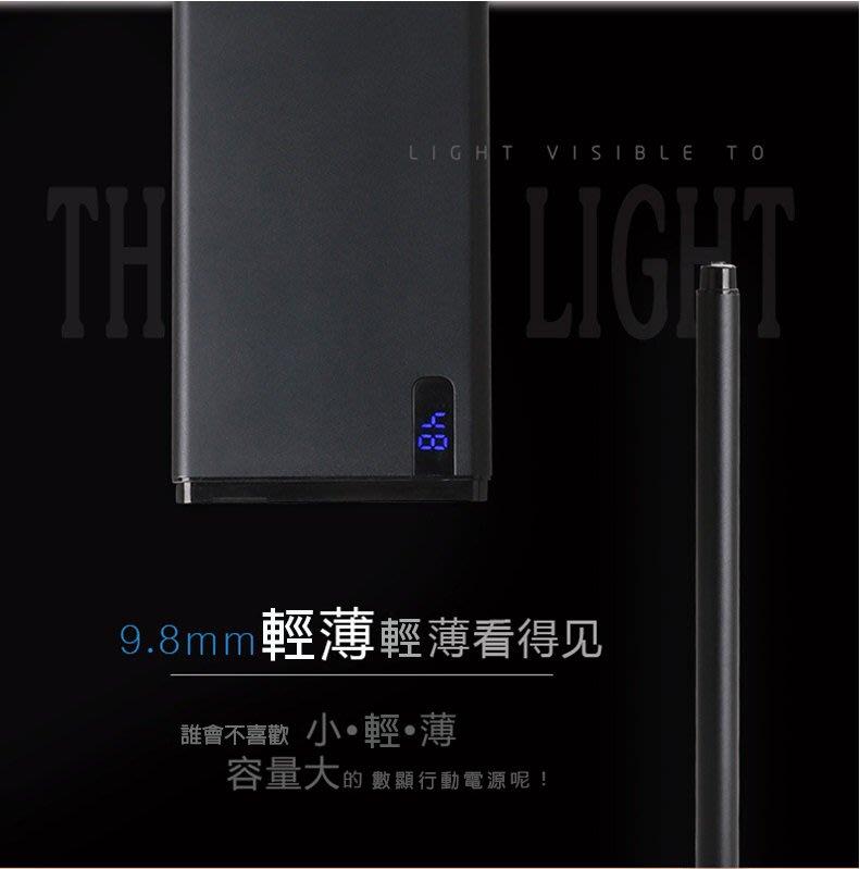 超薄數顯鋁合金行動電源 送3樣禮品  20000mah 3台免運 贈LED燈 雙層絨布袋 充電線 快充 數字顯示
