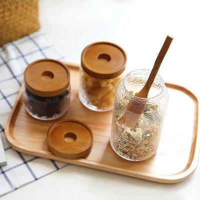 那些時光 玻璃密封罐儲物罐日式錘紋玻璃罐相思木蓋茶葉罐收納罐