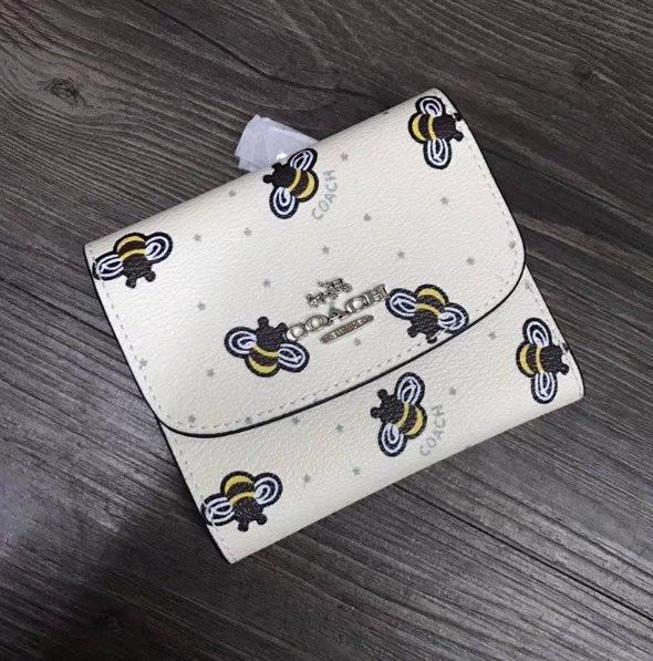 我愛名牌COACH包 美國100%正品【 清倉低價出售購買兩件免運】25972  新款小蜜蜂圖案三折短夾 錢包 零錢袋