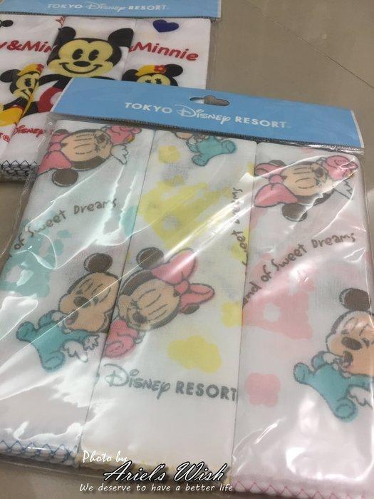 Ariel's Wish日本迪士尼阿卡將BABY版米奇米妮純棉紗布巾手帕毛巾口水巾圍兜彌月禮品組滿月周歲禮-日本製-現貨