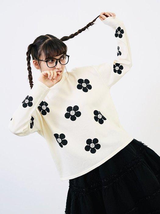 【鈷藍家】甜美個性原創圓領套頭毛衣女秋季寬松慵懶風針織衫上衣米白色底黑花花織物