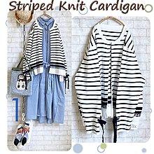 日貨Knit Cardigan 氣質文雅袖口綁帶條紋純棉針織外套-白深藍條 Size F (約M~L+)