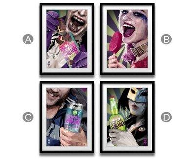 ABOUT~R  廣告自殺突擊隊海報掛畫小丑女哈莉·奎茵酒吧KTV裝飾畫英雄電影掛畫POP ART波普藝術電影人物掛畫