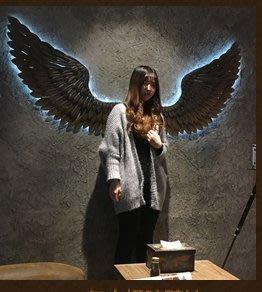 『格倫雅』工業風店鋪墻上墻面裝飾品鐵藝翅膀復古掛件墻飾酒吧網咖創意壁掛^23697