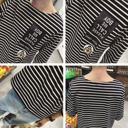 簡約條紋  韓國 衣服
