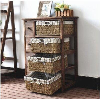 【優上】實木質籐編抽屜斗櫃宜家白色美式田園床頭櫃儲物置物收納「4層8抽-天然烤色」