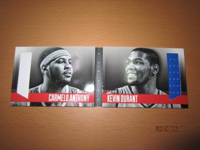 Kevin Durant/ Carmelo Anthony~書卡~限量雙折雙人球衣卡/199~PREFERRED