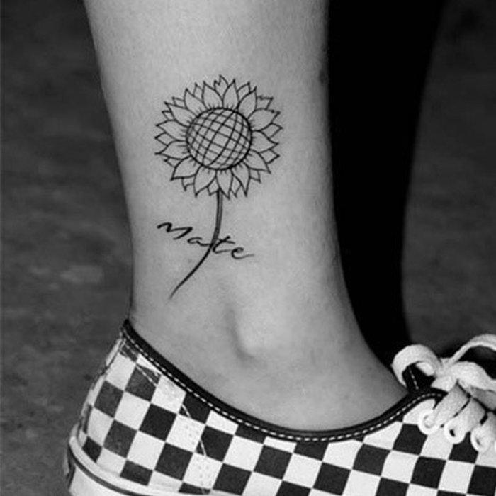 奇奇店-紋身貼向日葵紋身貼 小清新紋身貼個性刺青防水紙#精品圖案 #洗不掉的仿真紋身