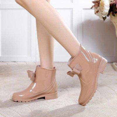 時尚韓國中筒防滑女水鞋低筒跟水靴可愛短筒蝴蝶結平底雨靴女雨鞋   全館免運