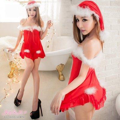 聖誕睡衣 中大尺碼 露肩一字領洋裝 紅色薄紗聖誕睡衣-愛衣朵拉K050