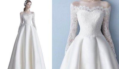 *全新~台中sasa婚紗禮服~復古長袖緞面設計婚紗 白紗~