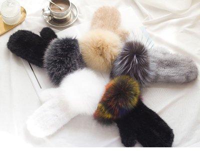 狐狸毛口冬保暖水貂毛編織手套優雅品質連指真皮草手套高密度編織