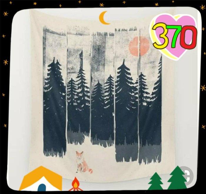 JYUN'S 新款外貿森林紅日狐狸床頭牆壁裝飾掛布牆掛毯背景布創意掛簾北歐風格 1款 預購