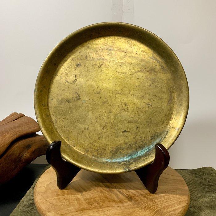 緬甸古董老件 手工老銅盤 圓盤 水果盤 銅器