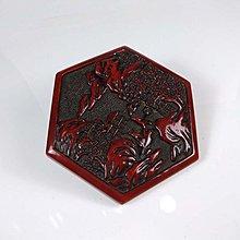 【古珍品】老件     黑底紅漆剔雕山水人物蓋
