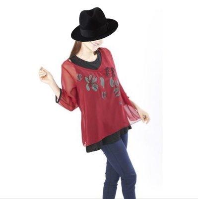 衣飾情緣。蘭陵紅黑二件式中國風雪紡長上衣 M號 基隆市