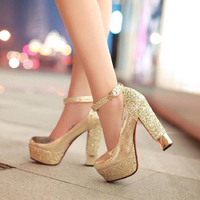 新款春秋粗跟超高跟單鞋防水臺亮片婚禮鞋夜店婚鞋女紅色新娘鞋