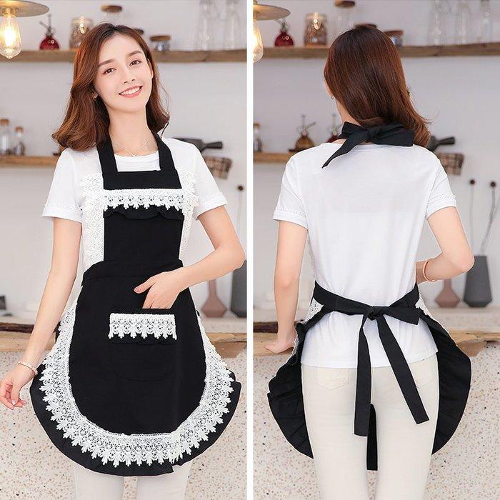廚房日用 可批發夏季韓版蕾絲圍裙裙子工作咖啡店廚房韓版時尚做飯女可愛日系家用