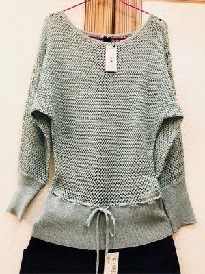 全新 日系品牌 I.n.e 粉色莫蘭迪綠 鏤空針織衫 F 原價$3080  la chambre d'ine