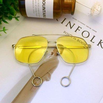黃色眼鏡復古黃男透明韓國原宿風個性潮人圓臉大框太陽鏡女韓版潮