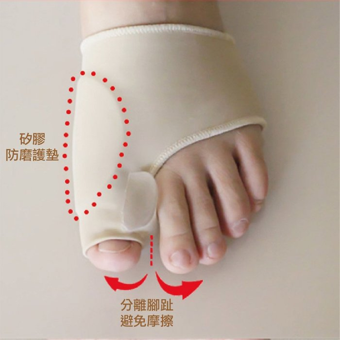 拇指外翻分隔墊萊卡矽膠襪套 拇趾外翻 分趾套 拇指外翻露趾襪套 腳拇指側邊磨鞋(雙)