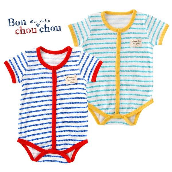 *Dou Dou House* 日本進口【Bon Chou Chou】童裝/條紋連身衣/包屁衣-藍色海洋-Size:80cm (現貨)