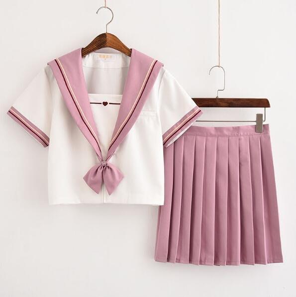 學院風 jk制服裙 水手服學生裝 學院風套裝 班服 校服 短裙+短袖上衣—莎芭