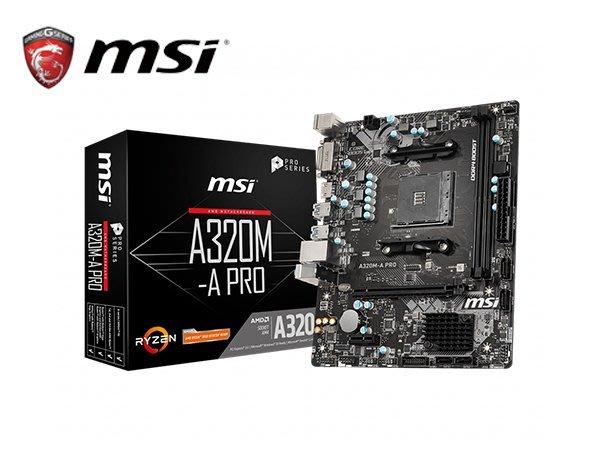 「ㄚ秒市集」微星 A320M-A PRO 主機板 M-ATX A320 晶片組 DVI-D HDMI AM4腳位