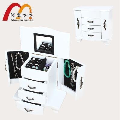 【優上】中小號白首飾盒實木質公主歐式複古飾品首飾收納盒