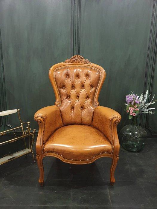 【卡卡頌  歐洲古董】💐法國老件 胡桃木雕刻  高背  單人沙發  主人椅  古董椅  法式沙發ch0454 ✬