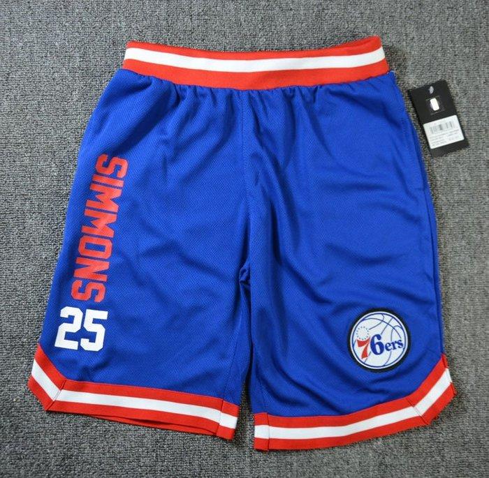 NBA籃球青年短褲 費城76人隊 SIMMONS 口袋版 運動籃球褲 藍色 正版