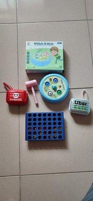 二手打地鼠聲光玩具 foodpanda及Uber Eats迷你行李廂鑰匙圈+圓幣排列玩具