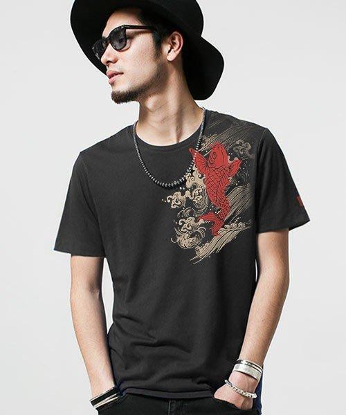 [ eshop] 若鯉怒濤 日式風格 大幅面印刷 棉質短袖T恤【TS-26】