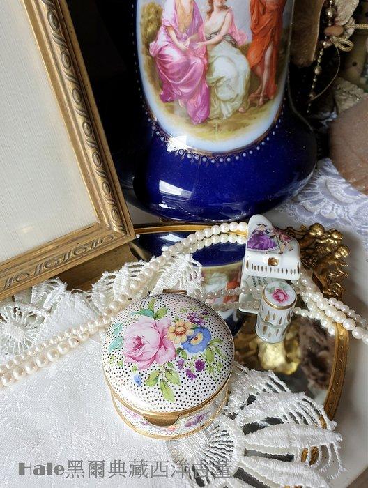 黑爾典藏西洋古董~英國AYSHFORD FINE BON花卉藥盒/珠寶盒/復古頂針英國銀器古董蕾絲