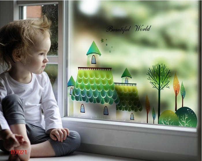 壁貼工場-玻璃貼 無痕貼 壁貼 牆貼 透明磨砂 卡通 房屋 窗貼 K7021