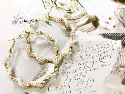【海星 Starfish】珍愛誓言 迷人珍珠攀繞圈圈耳環
