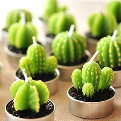 創意新奇生日禮物 仿真盆栽仙人球仙人掌蠟燭 植物小擺件