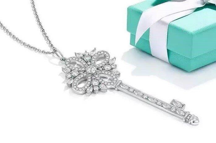 Melia 米莉亞代購 Tiffany&Co. 925純銀 Tiffany 蒂芙尼 項鍊 聖誕玫瑰鑲鑽鑰匙項鍊