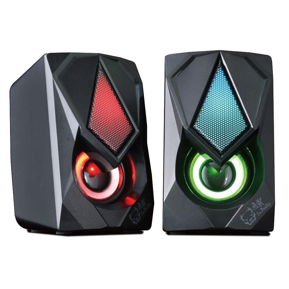 台灣公司貨 LED發光 桌上型多媒體USB喇叭 二件式喇叭【G1042】