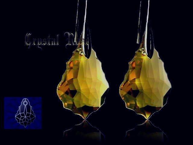 ※水晶玫瑰※ SWAROVSKI 大巴洛克葉水晶吊墜 鍍金耳勾式耳環(DD039)~9色可選