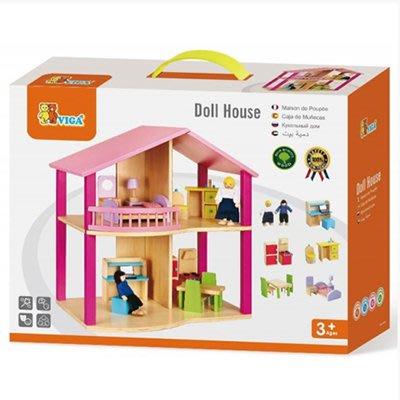 *小貝比的家*VIGA(優質原木教具)-DOLLHOUSE 木製夢想娃娃小屋